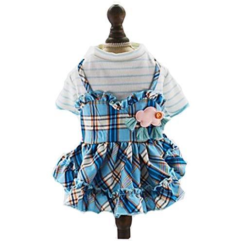 Stern Rosa Kostüm Prinzessin - YAMEIJIA Hunde Katzen Haustiere Kleider Hundekleidung Plaid/Karomuster Sterne Prinzessin Blau Rosa Baumwolle/Polyester Kostüm Für Haustiere,Blue,XL
