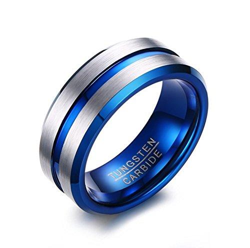 Verheiratet Ringe Für Gold Männer (AnaZoz Schmuck Wolframcarbid Ring Herren Blau 8mm Bandringe für Männer Größe 60 (19.1))