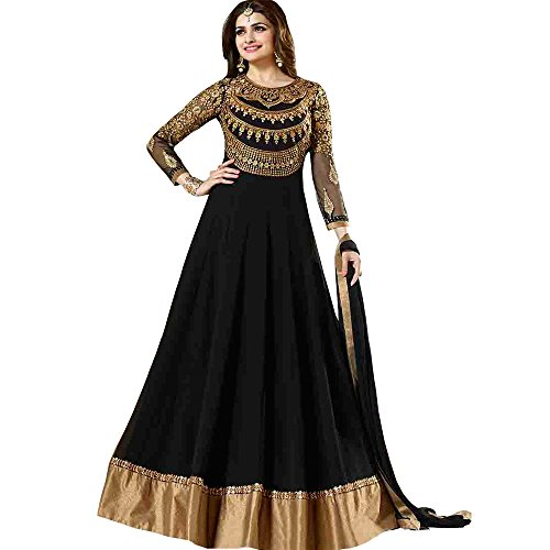 Dani Fashions Women's Georgette Anarkali Suit Dress Material (2947 _Black)