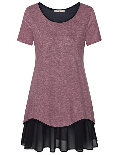 KurzarmTunika ,Bebonnie Plus Size Frauen Oberteile Fliessender Chiffon Saumu Freizeit Basic Kleid Weinrot,Größe XL