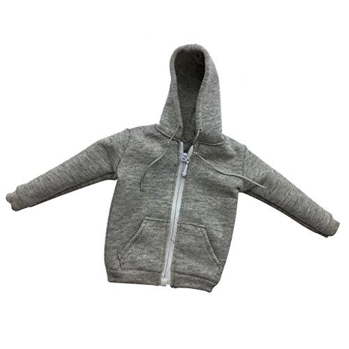 sharprepublic 1/6Männlich Aktionfigur Kleidung Herren Hoodie Sweatshirt Kapuzenpullover Outfit - Reißverschluss Grau - Hoodies Männliche