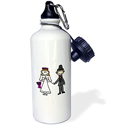 3dRose wb_218077_1 Funny Stick Figure Wedding Bride and Groom Sports Water Bottle, 21 oz, White