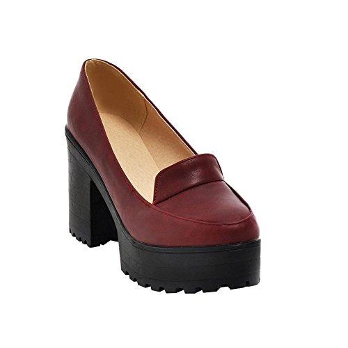 MissSaSa Damen hohe Plateau runde Pumps mit hohe Blockabsatz bequem und simpel Schuhe (40, Schwarz)