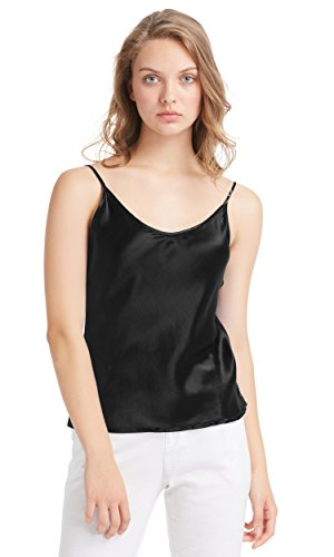 LilySilk Seidentop Sexy Seide Unterhemd Top Schlicht Trägertop Damen Camisole 100% Seiden Cami Tops Damentop aus Satin Schwarz M (100% Top Seide)