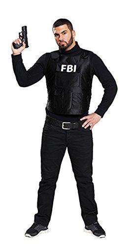Rubie's FBI kugelsichere Weste Polizist Kostüm Schwarz-Weiss 50 (Kugelsichere Weste Kostüm)