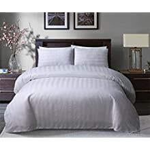Sleepdown Soft Hotel Quality 250 THREAD COUNT POLYCOTTON Satin Stripe Duvet Cover Set With Pillowcases in White Colour(KIng)