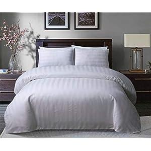 Sleepdown Soft Hotel Quality 250 THREAD COUNT POLYCOTTON Satin Stripe Duvet Cover Set With Pillowcases in White Colour (Double)