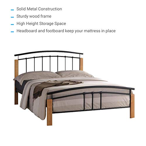 Limitless Home Tetras Modern Beech Wooden and Metal Bed Frame | Contemporary Bedstead Bedroom Furniture | 4ft6 Double Size | Black
