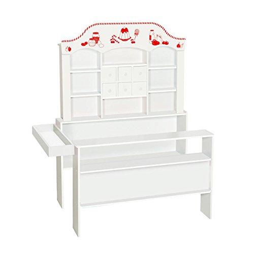 roba Candyshop in stilvollem Weiß, Kaufladen mit vielen Schubladen, Seiten- und Fronttheke, Verkaufsstand mit viel Platz für Zubehör