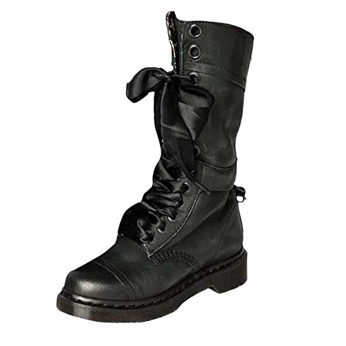 BURFLY Classic Retro Boots for Women Ladies, Mid-Calf Brogue Biker Boots, Vintage Rivets Leather Round Toe Lace-Up Riding Boots, Size 3-7 UK