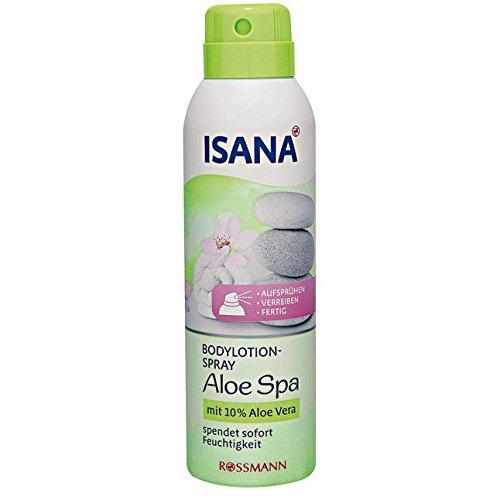 ISANA Bodylotion-Spray Aloe Spa 150 ml mit 10% Aloe Vera, spendet sofort Feuchtigkeit, Aufsprühen, verreiben, fertig