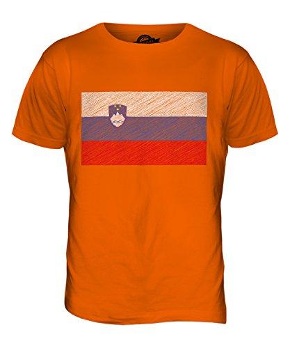 CandyMix Slowenien Kritzelte Flagge Herren T Shirt Orange