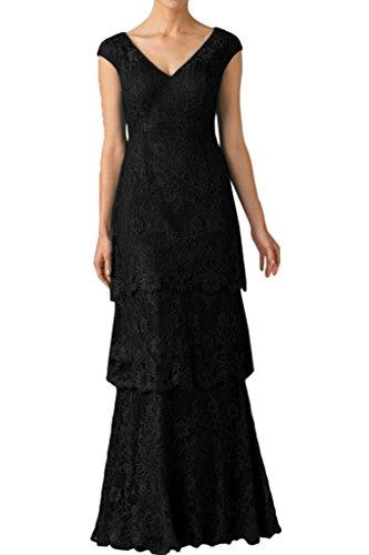 Milano Bride Damen Vintage Lang Abendkleider Festkleider Mutterkleider Spitzenkleider Hochzeitsgastkleider Schwarz