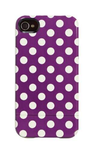 Uncommon LLC Uncommon C0100-EV Capsule Hard Case for iPhone 4 and 4S, Broodi Violet Polka Design - 1 Pack - Retail Packaging - Multicolored