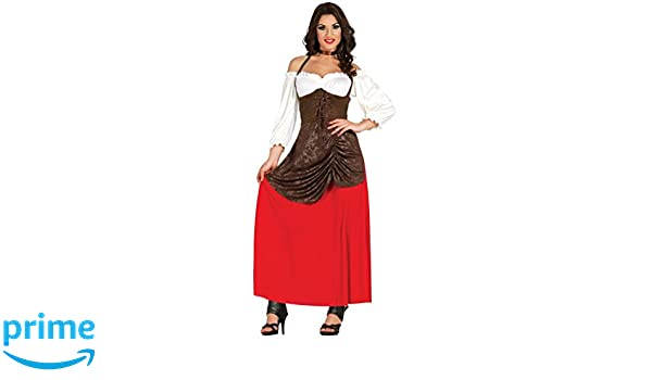 Ladies Medieval Serving Wench Oktoberfest Long Fancy Dress Costume Outfit 14-18