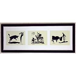 Kunstdruck Bild Pablo Picasso Collage signiert Picador, Bullfighter, Don Quixot 107 x 42 cm PREIS-HIT!