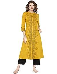 Varanga Mustard Cotton Blend Printed Kurta KFF-VAR21016
