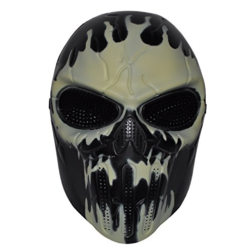 Komonee Dunkles Skelett Full Face Hockey Halloween Maske - Eishockey Zombie Kostüm