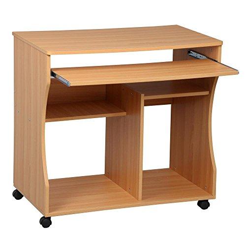 Yaheetech Schreibtisch Bürotisch mit Rollen, Computertisch Arbeitstisch PC-Tisch mit herausziehbare Tastaturauszug Ablage
