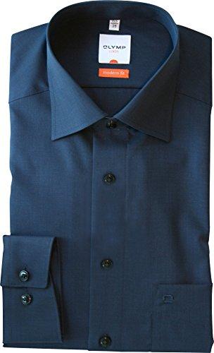 Olymp Hemd Modern Fit New Kentkragen in Langarm (64cm) Bügelfrei und Knitterfrei azur, Einfarbig, Blau, Gr. 42