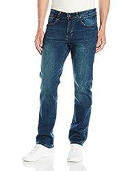 IZOD Mens Comfort Stretch Straight Fit Jean, Indigo Blast, 42Wx32L