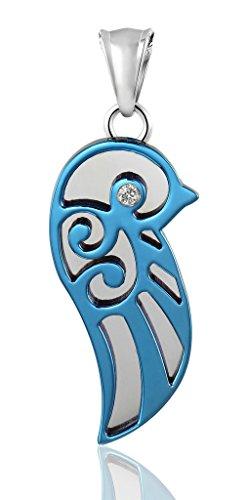 Uomo catena Collane di collegamento dell'acciaio inossidabile CZ Angel Wings Hollow Blu di AieniD