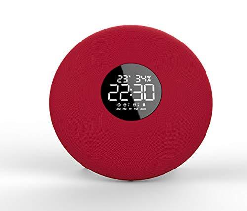 Uhr Lautsprecher Wecker Audio Wireless Bluetooth Lautsprecher Fashion Bass Speaker,Red