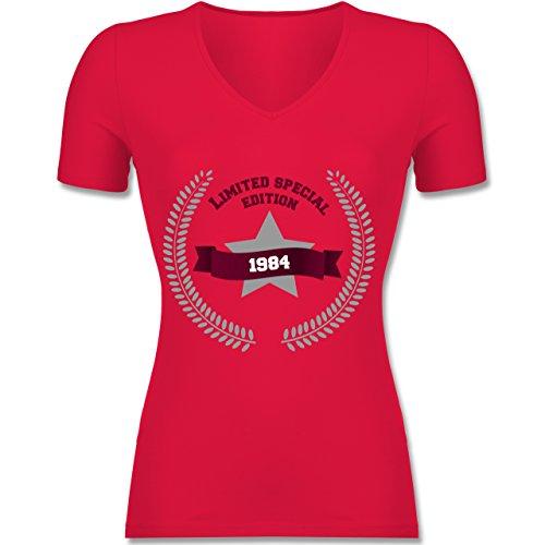 Geburtstag - 1984 Limited Special Edition - Tailliertes T-Shirt mit V-Ausschnitt für Frauen Rot