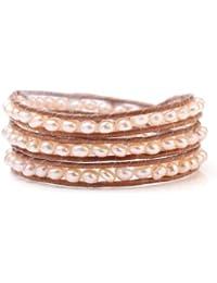 élégante naturelle 5mm d'eau douce rose perle main - nouée sur le brun cordon en cuir bracelet 3-wrap