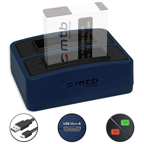 Mini-Dual-Ladegerät (USB) für Panasonic DMW-BLH7(E) | Lumix DC-GX800 | DMC-GF7 | DMC-GM1, GM5 | DMC-LX15 - inkl. Micro-USB-Kabel (2 Akkus gleichzeitig ladbar)