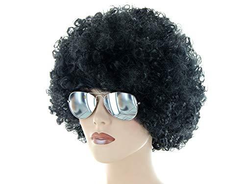 Alsino Karneval Set 70er Jahre Funky Outfit (Kv-196) mit Afro Perücke One Size Schwarz und Sonnenbrille Silber