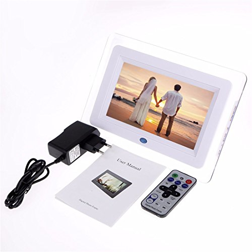 INSMA 7 ''LCD Fernbedienung Bilderrahmen(23x16x3.5cm) mit Eingebautem Speicherung MP3- und Video-Wiedergabe als Handbuch Geschenk für Familien, Freunde,Mitschüler