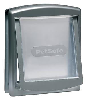 PetSafe - Porte pour Animaux d'Origine Staywell (M), Chatière pour Chien Moyen, Résistante, Battant Robuste, Panneau de Fermeture Inclus - Argenté