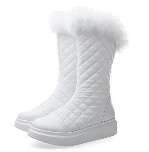 Damen Stiefel warm gefütterte Schneestiefel mit Plüschstiefel Snowboots Winterstiefel Kunstfell kariert Weiß