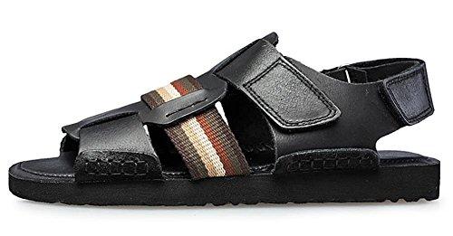 Herren Leder Stitching öffnen Toed Handgefertigte Sandalen Strand Außen Schwarz Braun Black