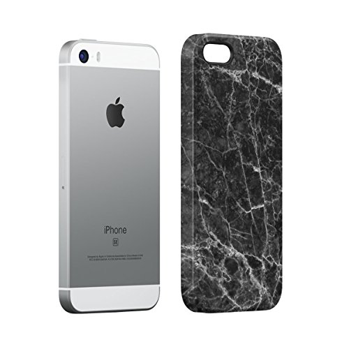 Black Marble With Rose Gold Cracks Stone Print Apple iPhone 4 , iPhone 4S Snap-On Hard Plastic Protective Shell Case Cover Custodia Black Marble