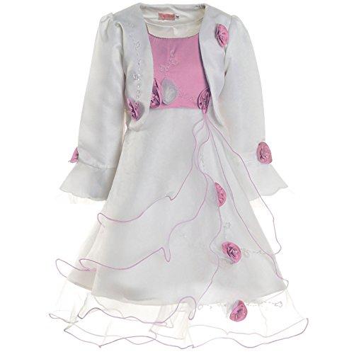 Mädchen Kommunions Kleid Festkleid Kostüm Bolero und Rose 21476, Farbe:Rosa, Größe:140