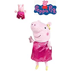 "Peppa Pig - Peluche Peppa con Vestido Rosa y Plata 10""/26cm - Calidad Super Soft"