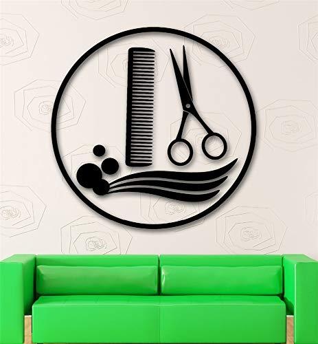 Wandtattoo Kinderzimmer Friseursalon Stylist Barber Tools Friseursalon Schere und Kamm Art Decal Wohnzimmer Friseursalon -