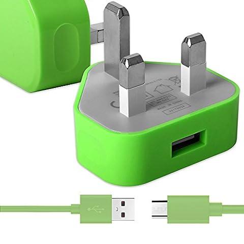 Grün Dünner USB 2.0 Micro USB MicroUSB SYNC & CHARGE Verbinden Sie das Ladegerät Tangle Proof Cable (1.1 Meter) mit UK 3 Pin 1000 mAh Netzteilstecker für Huawei Ascend Mate 2 4g