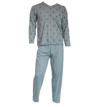 Herren Schlafanzug Pyjama Zweiteiler lang 2-tlg mit V-Ausschnitt Nr. 4662, Größe:M, Farbe:grau/grün