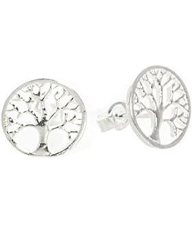 Bella Carina Damen Ohrstecker Baum des Lebens 11 mm, 925 Sterling Silber