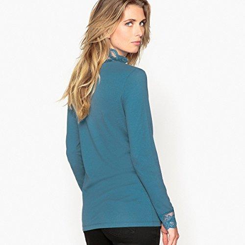 La Redoute Anne Weyburn Donna Tshirt con Collo Alto Tinta Unita, Maniche Lunghe Smeraldo