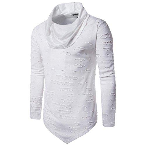 VENMO Männer Bluse Herbst Herren Winter Warmes Spleissen Bluse Löcher Tops Unregelmäßige Jacke Männer Loch Hemd Fashion Solid Farbe Männliches beiläufiges langes Hülsen-Hemd (L, White)