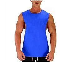 ZHANGJIANJUNS Camiseta Sin Mangas En Blanco Muscle Cut Workout T-Shirt Bodybuilding Tank Top Hombre Ropa De Deporte Algodón con Laterales Abiertos Chaleco, Azul, L
