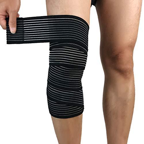 Huiuk Kniebandage Kompression Elastizität Kniebandage Wrap-Around Wadenschiene UnterstützungArthritis Sehnenentzündung Schmerzlinderung Für Gewichtheben Outdoor-Sportarten (1 Paar),Black -
