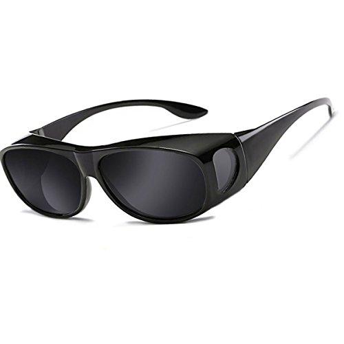 Sonnenbrille Überziehbrille für Brillenträger Brille Herren Damen {Polarisiert Sonnenüberbrille über normale Brillen},UV400 sunglasses Fit Ove Rx Glasses (Schwarz)