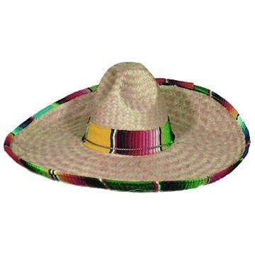 Hut Sombrero mit buntem Stoffrand Durchmesser 52cm (Kinder Sombrero Hut)