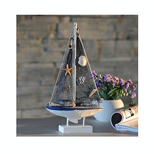 Guve Modello di Barca a Vela in Legno, Fatto a Mano in Legno di Barca a Vela in Stile Vintage Decorazione a Forma di Barca a Vela,(L*W*H) 15 * 5 * 28cm