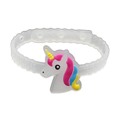 Kicode PVC 10 Stück Glühende Einhorn-Armbänder Buntes Armband Transparent weich Partygeburtstag Mädchen scherzt Geschenk